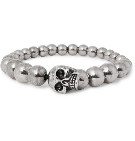 Alexander McQueen Silver-tone Beaded Skull Bracelet - Silber grau