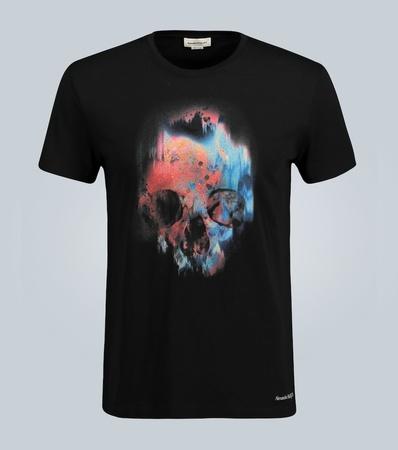 Alexander McQueen T-Shirt mit gesprühtem Skull grau