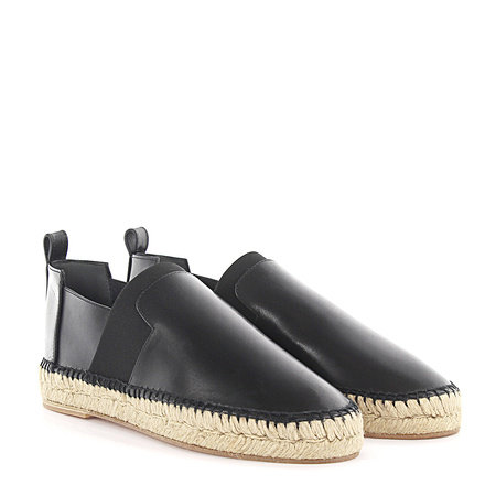 Balenciaga  Espadrilles Leder schwarz Stretchband Bast grau