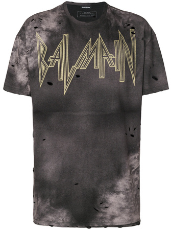 Balmain  Batik-T-Shirt mit Distressed-Optik - Schwarz