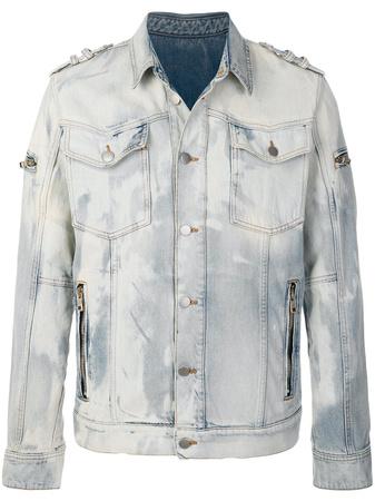 Balmain  bleached denim jacket - Blau