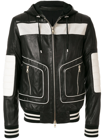 Balmain  colour-block hooded biker jacket - Schwarz