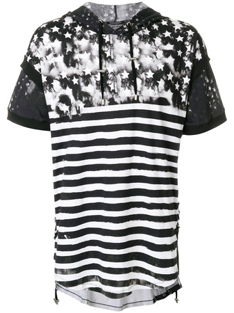 Balmain  colour-block hooded T-shirt - Schwarz