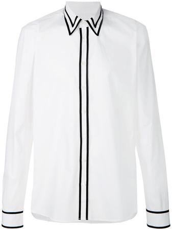 Balmain  contrast trim shirt - Weiß