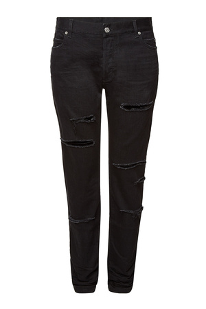 Balmain  Distressed Straight Leg Jeans schwarz