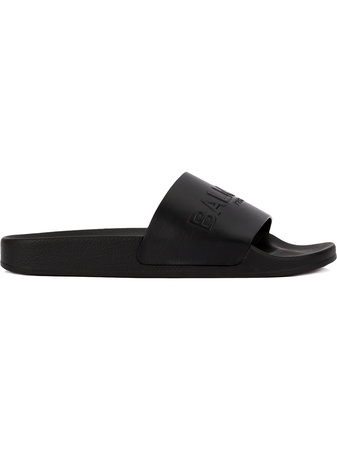 Balmain  embossed logo slide sandals - Schwarz