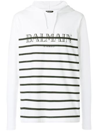 Balmain  Gestreiftes Kapuzenoberteil mit Logo-Print - Weiß