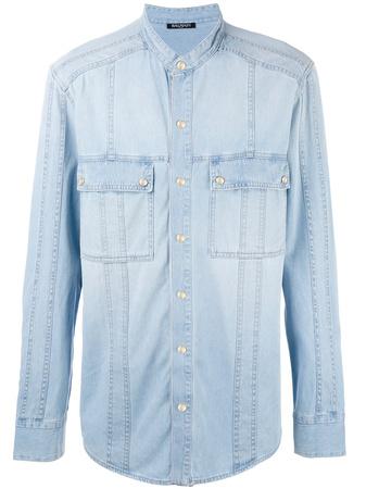 Balmain  Jeanshemd ohne Kragen - Blau