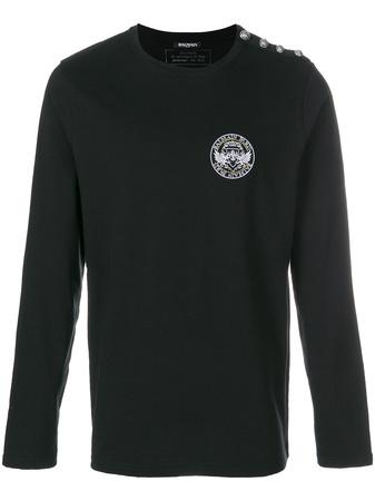 Balmain  logo crest T-shirt - Schwarz