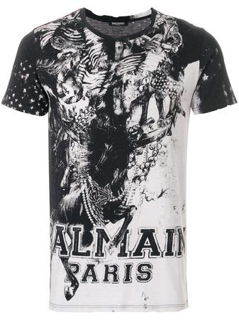 Balmain  Mariniere print T-shirt - Schwarz