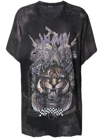 Balmain  oversized tiger print T-shirt - Grau