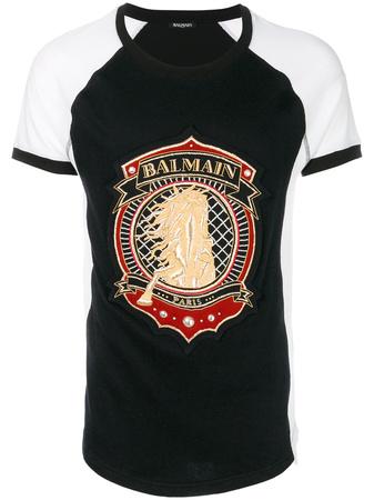 Balmain  shield print T-shirt - Schwarz
