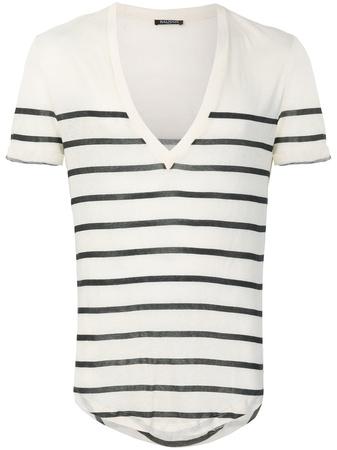 Balmain  striped V-neck T-shirt - Nude