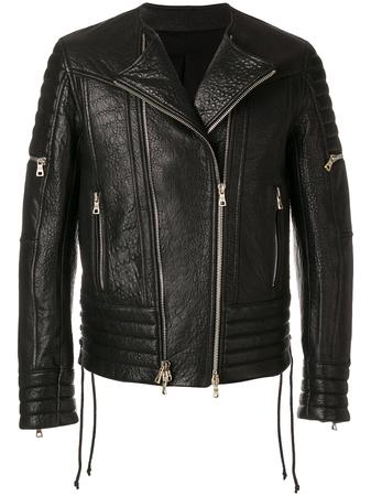 Balmain  zipped biker jacket - Schwarz