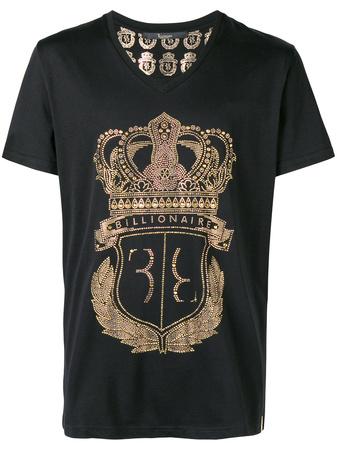Billionaire  v-neck logo T-shirt - Schwarz