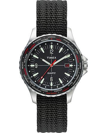 Uhren von Timex. Grösse: One size. Farbe: Schwarz. Timex Navi World Time 38mm Steel/Black Dial Herren grau