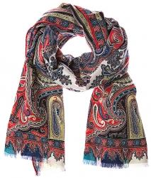 Etro Herren Schal mit Paisley Muster Rot/Blau