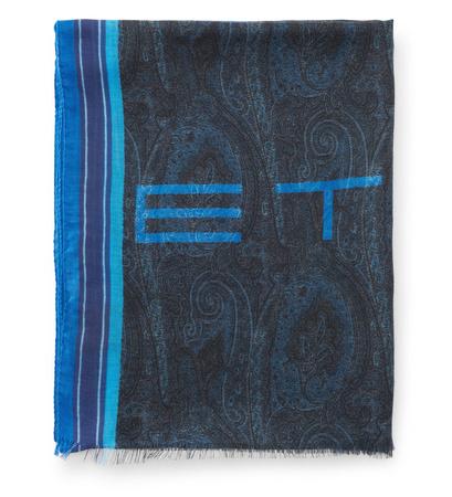 Etro Schal navy/blau gemustert grau