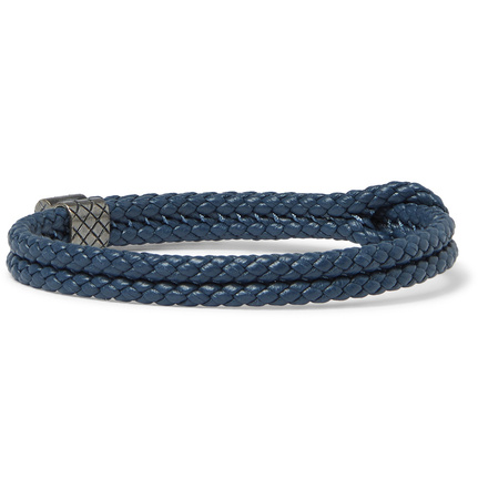 Bottega Veneta Intrecciato Leather Oxidised Silver Bracelet - Storm blue grau