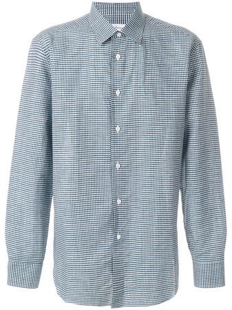 Brioni  check print shirt - Blau