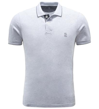 Brunello Cucinelli Jersey-Poloshirt hellgrau