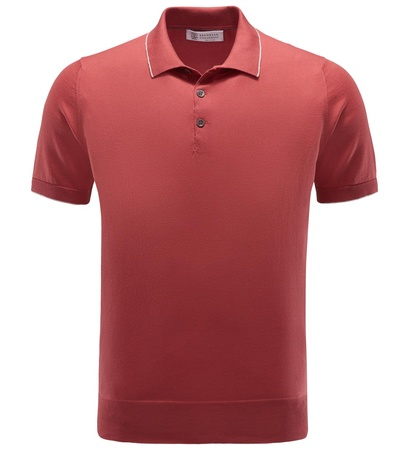 Brunello Cucinelli Jersey-Poloshirt rot
