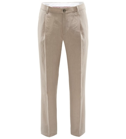 Brunello Cucinelli Leinenhose 'Traditional Fit' beige