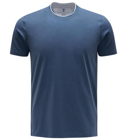 Brunello Cucinelli R-Neck T-Shirt dunkelblau grau