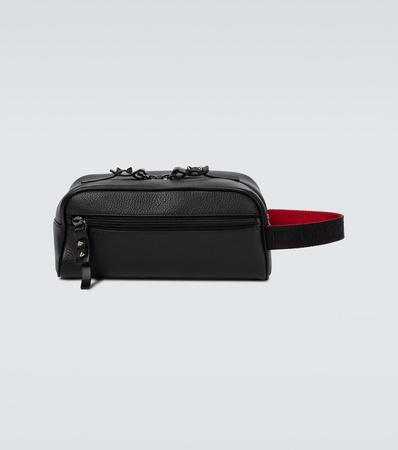 Christian Louboutin Travel Pouch Blaster aus Leder grau