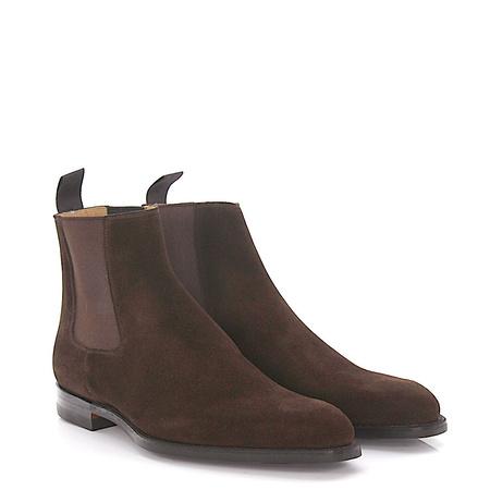 Crockett & Jones  Chelsea Boots Lingfield Veloursleder braun Rahmengenäht grau