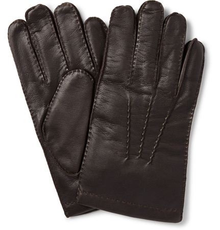 Dents Shaftesbury Touchscreen Cashmere-Lined Leather Gloves grau