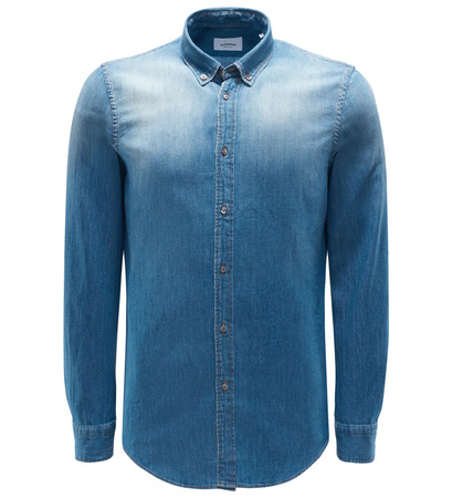 Dondup Jeanshemd Button-Down-Kragen graublau grau