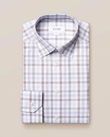 Eton Weiß-blau kariertes Signature-Twill-Hemd