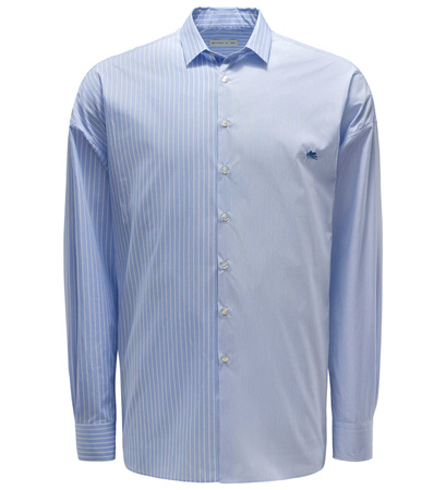 Etro Casual Hemd schmaler Kragen hellblau gestreift grau