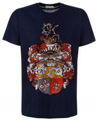 Etro Herren T-Shirt mit Samtdruck Navy schwarz