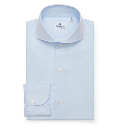 Finamore Business Hemd 'Sergio Milano' Haifisch-Kragen pastellblau grau