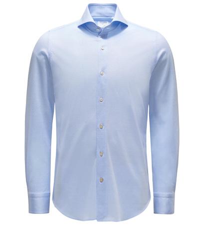 Finamore Jersey-Hemd 'Sergio Toronto' Haifisch-Kragen pastellblau blau