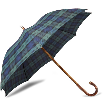 Francesco Maglia Lord Chestnut Wood-handle Black Watch Checked Twill Umbrella - Grün grau