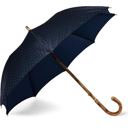 Francesco Maglia Lord Chestnut Wood-handle Polka-dot Twill Umbrella - Navy schwarz