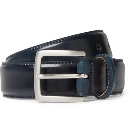 George Cleverley 3.5cm Dark-blue Horween Shell Cordovan Leather Belt - Navy schwarz