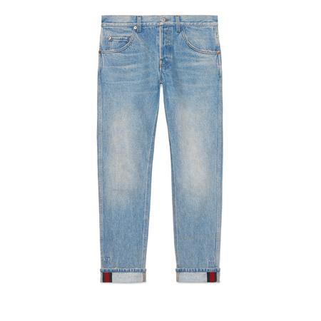 Gucci Abgeschrägte Hose aus Denim mit Webstreifen grau