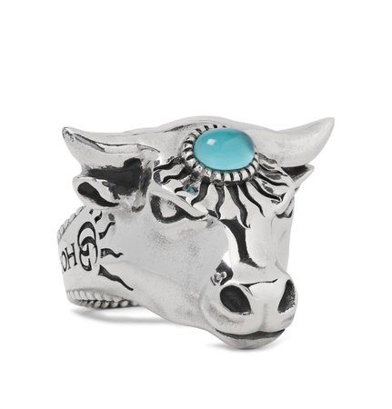 Gucci Bull's Head Sterling Silver And Glass Ring - Silver grau
