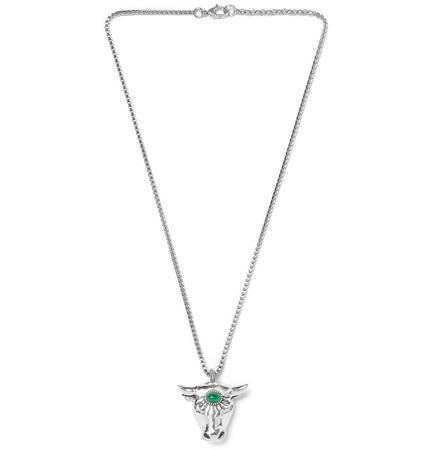 Gucci Bull's Head Sterling Silver Glass Bead Necklace - Silver grau