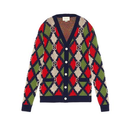 Gucci Cardigan aus Wolle mit GGRhombus grau