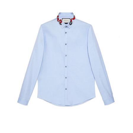 Gucci Duke Hemd aus Oxford mit Königsnatter blau
