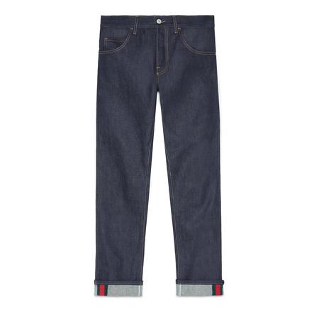 Gucci Dunkelblaue Jeans mit abgeschrägtem Bein und Webstreifen grau