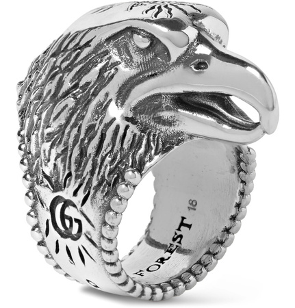 Gucci Eagle's Head Sterling Silver Ring - Silber grau