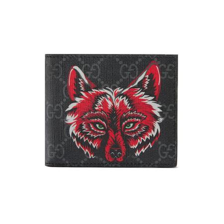 Gucci GG Supreme Brieftasche mit Wolf grau