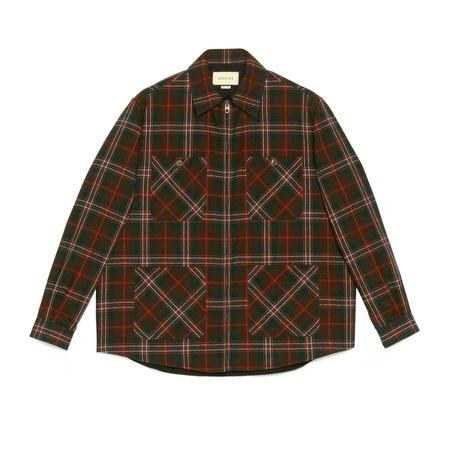 Gucci Hemd aus karierter Wolle mit Reißverschluss braun