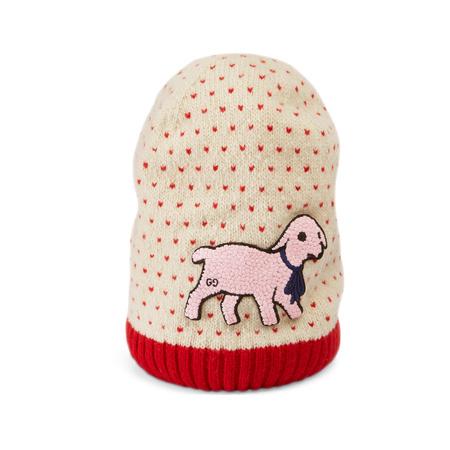 Gucci Mütze aus Wolle mit Herzmuster und Lamm-Patch braun
